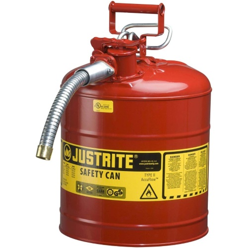 Safety Gas Can >> Justrite 7225120 Type Ii Accuflow Red Gas Can 2 5 Gal W 5 8 In Hose