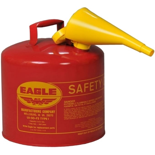 Eagle UI-50-FS Type I Safety Can 5 Gal with F-15 Funnel 330-1020R, 330-1020Y, yellow gas can, red gas can