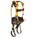 FallTech 7035 Journeyman Harness, Back & Side D-rings, TB Legs & MB Chest, 6 in. Waist Paid, - Large