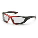 Pyramex SBR8710DTP Accurist Safety Glasses-Red/Black Frame-Clear Anti-Fog Lens