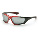 Pyramex SBR8770DP Accurist Safety Glasses-Red/Black Frame-Silver Mirror Lens