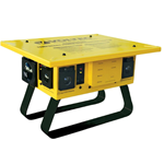 TBOX® Temporary Power Box - U-GROUND T-SLOT  (All Outlet Protection) Voltect, Generator, Power Box, 20 amp, Voltec 09-00376, T-Slot Temporary Power Box with 3 GFCI, 50 Amp, Yellow