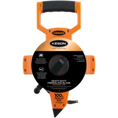 Keson OTR18100 100 ft Fiberglass Long Tape Measure