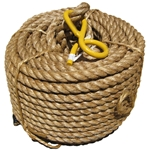 Rope w/Spliced Pigtail Hook, 3/4 in x 100 ft Rope w/Spliced Pigtail Hook, hemp rope, manila, manilla, rope, hand hoist rope