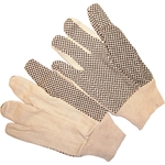 White Canvas Gloves w/ Plastic Dots