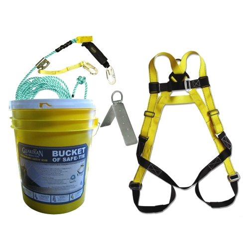 Guardian 00815 Bucket of Safe-Tie Roofing Kit Guardian safety kit, guardian bag of safety kit, guardian bag of safety roofers kit, safe-tie, guardian bucket of safe-tie