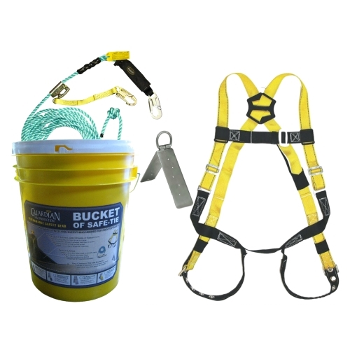 Guardian 00815 Bucket of Safe-Tie Roofing Kit w/Upgraded Harness Guardian safety kit, guardian bag of safety kit, guardian bag of safety roofers kit, safe-tie, guardian bucket of safe-tie
