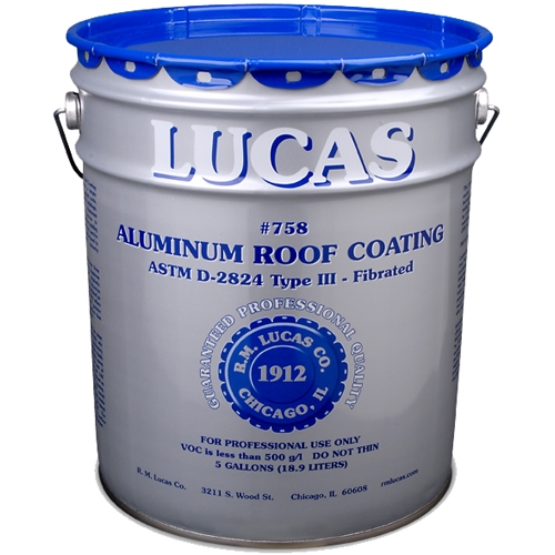 Lucas 758 Aluminum Roof Coating Fibrated 5 Gal Designed