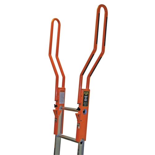 Guardian Fall Protection 10800 Safe-T Ladder Extension safety ladder exension system, ladder walk through, ladder walk-through, OSHA standard 1926.1053(b)(1), ladder side rails shall extend at least 3 feet, 1926.502(b)(3), ANSI standard a14.2 section 8.3.3, ladder safety grab, 10800, ladder safety bar