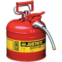 Justrite 7220120 Type II Accuflow Red Gas Can, 2 Gal. w/ 5/8 in. Hose