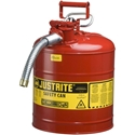 Justrite 7225120 Type II Accuflow Red Gas Can, 2.5 Gal. w/ 5/8 in. Hose