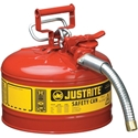 Justrite 7225130 Type II Accuflow Red Gas Can, 2.5 Gal. w/ 1 in. Hose